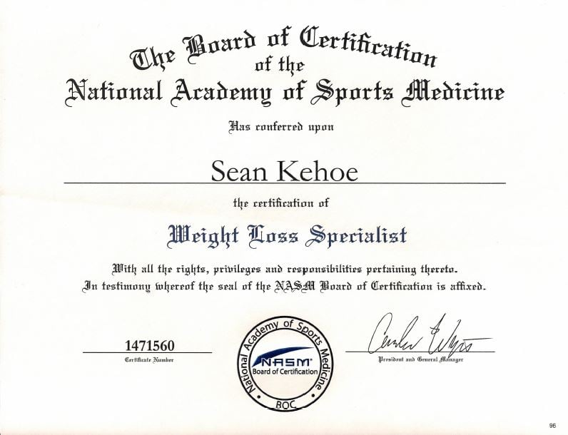 Nasm Weight Loss Specialist Certification Yelp