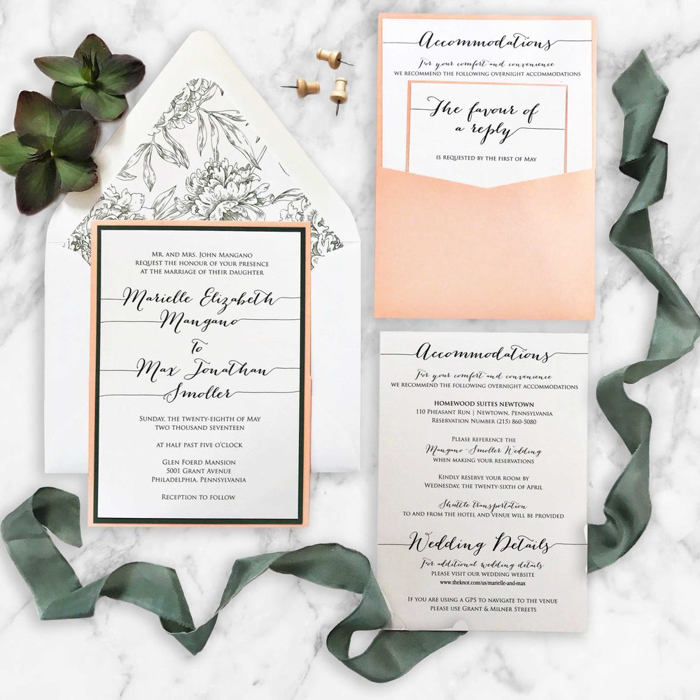 A peach and sage floral pocket wedding invitation suite. Newtown ...