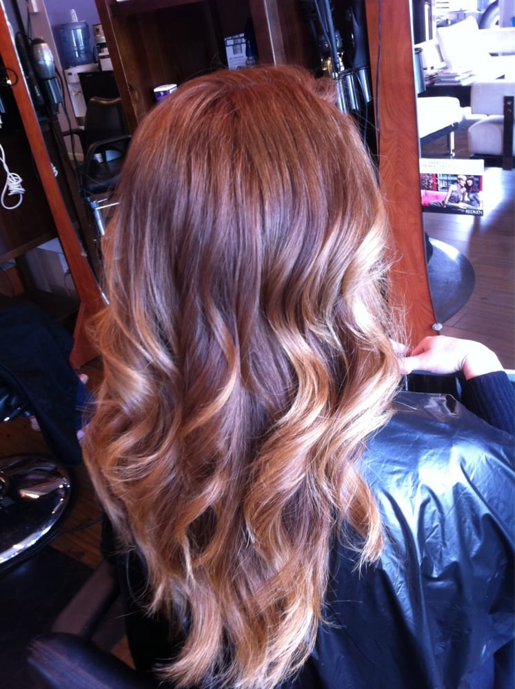 A Natural Red And Gold Ombre For Chelsea Hair By Michelle Yelp