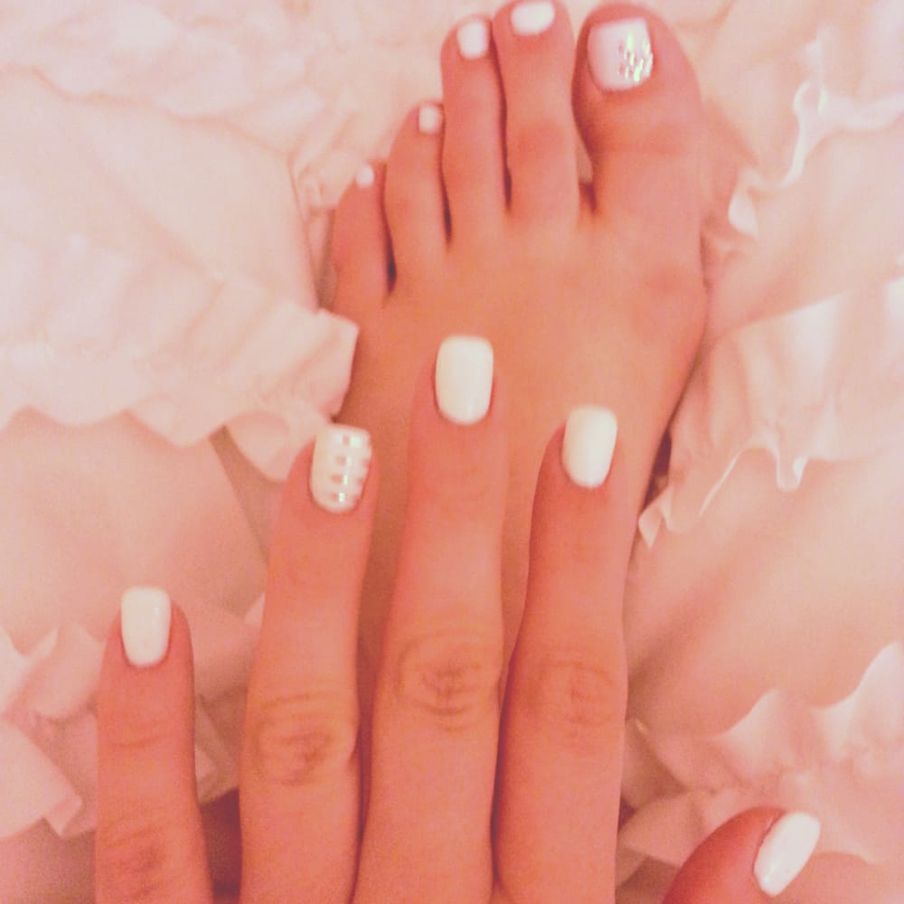 White nails with silver foil stripes and white toes with jewels - Yelp