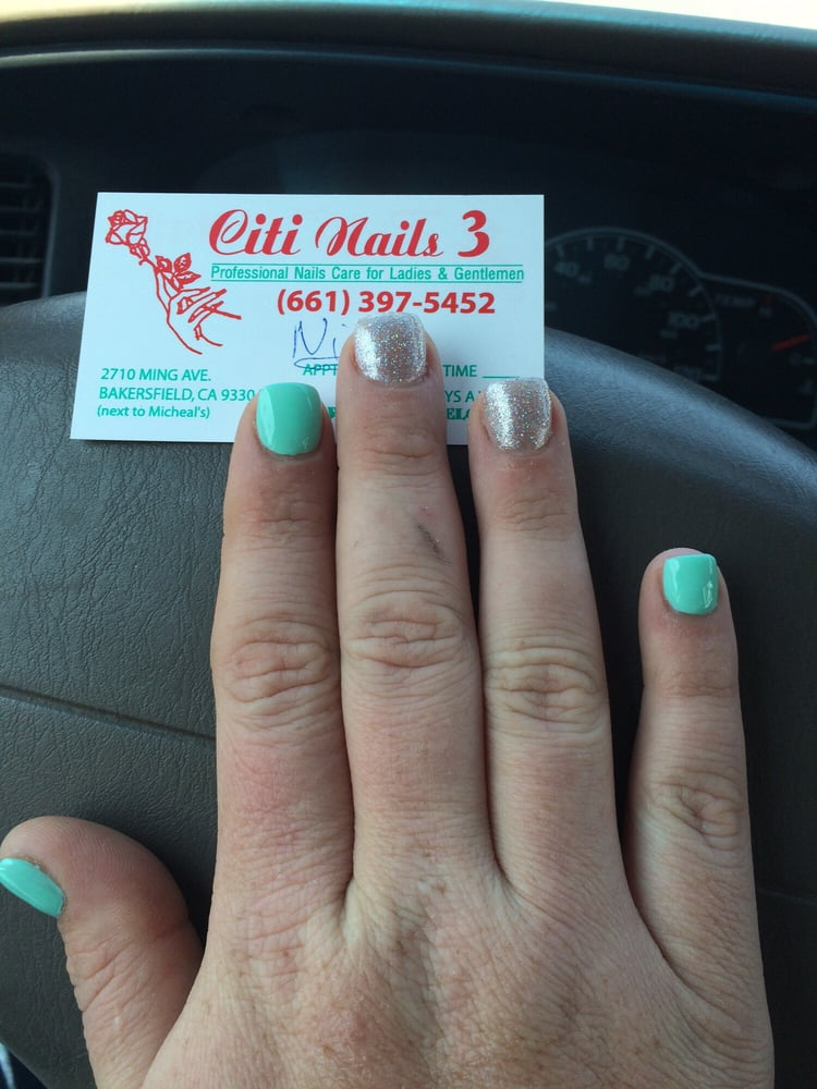 Nick did amazing on my nails (acrylic on natural nail no tip) n pedi ...
