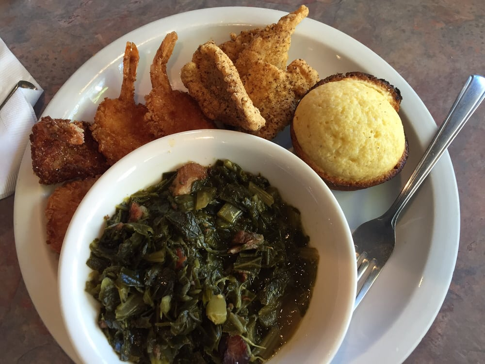 Fried catfish and shrimp with collard greens and corn bread. | Yelp