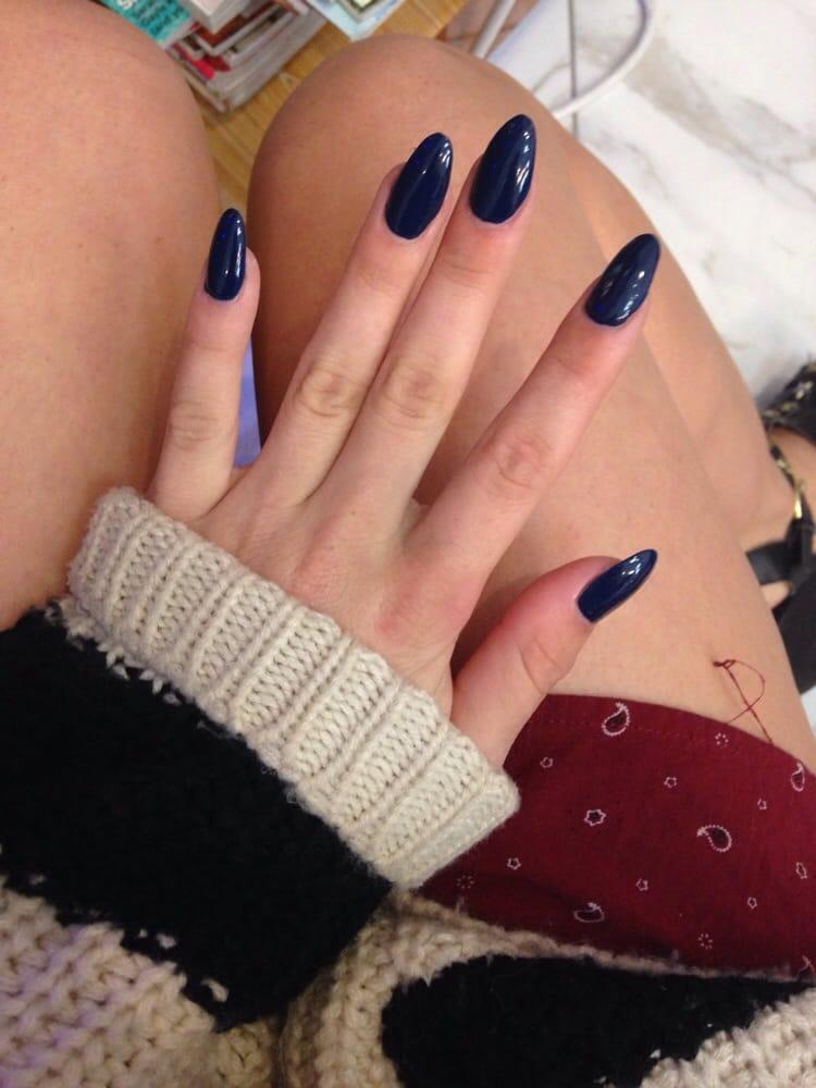 Point navy acrylic nails! - Yelp