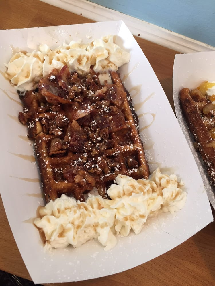 Jaguar Shark Waffle with candied bacon and candied walnuts ...