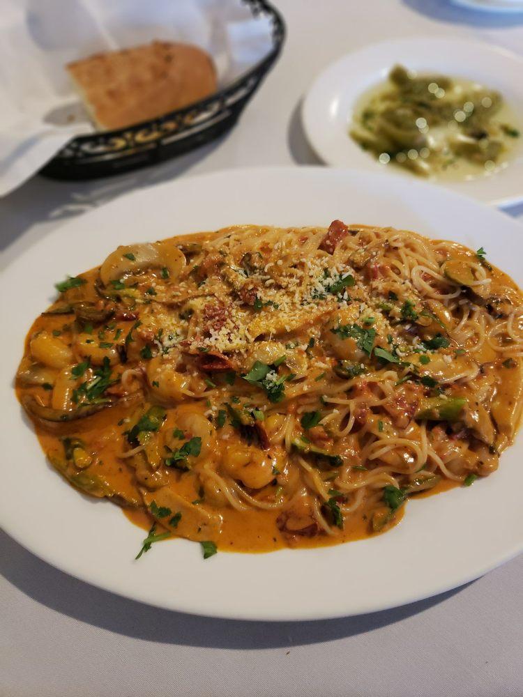 Angel Hair Pasta Asparagus Mushroom Eggplant And Seafood Shrimp