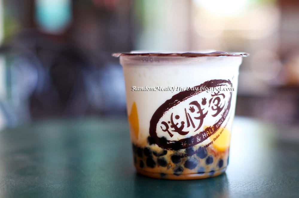 Iced Milk Drink With Caramel Pudding And Honey Boba