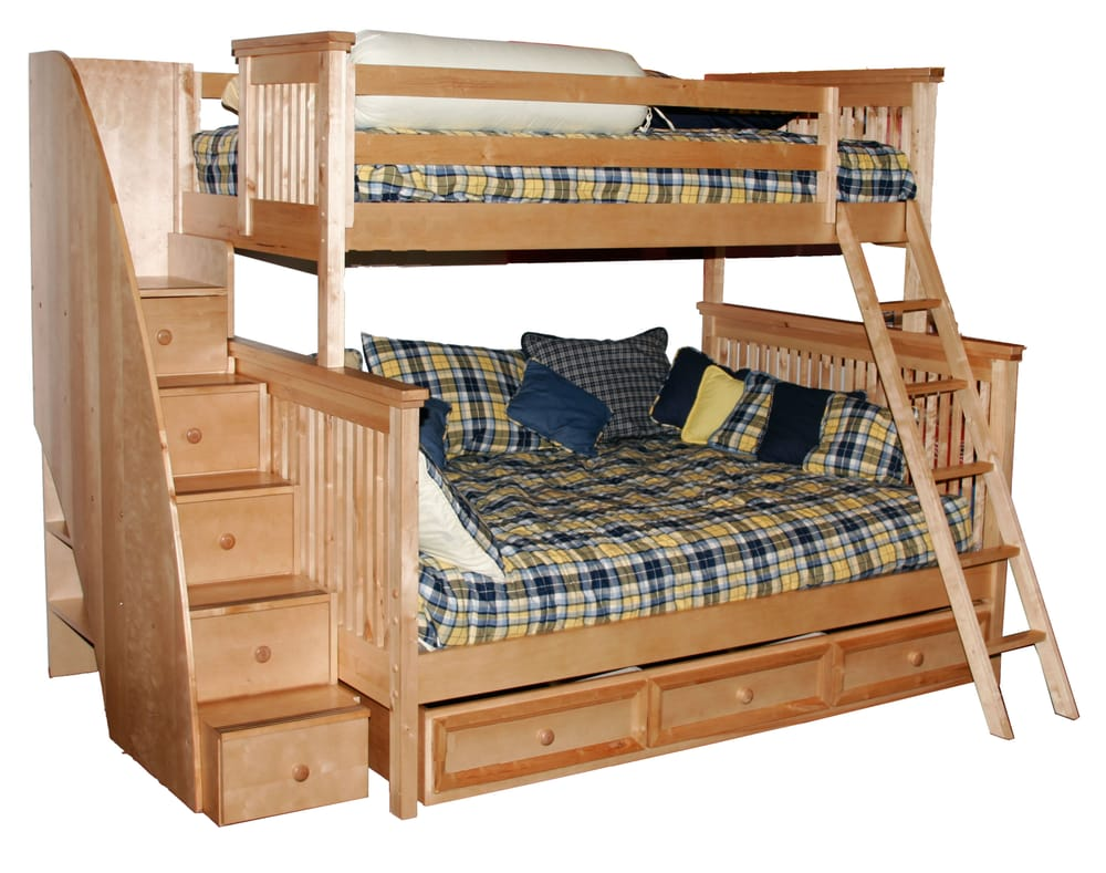 Twin Full Bead Board Bunk Bed W Staircase Trundle Storage Unit