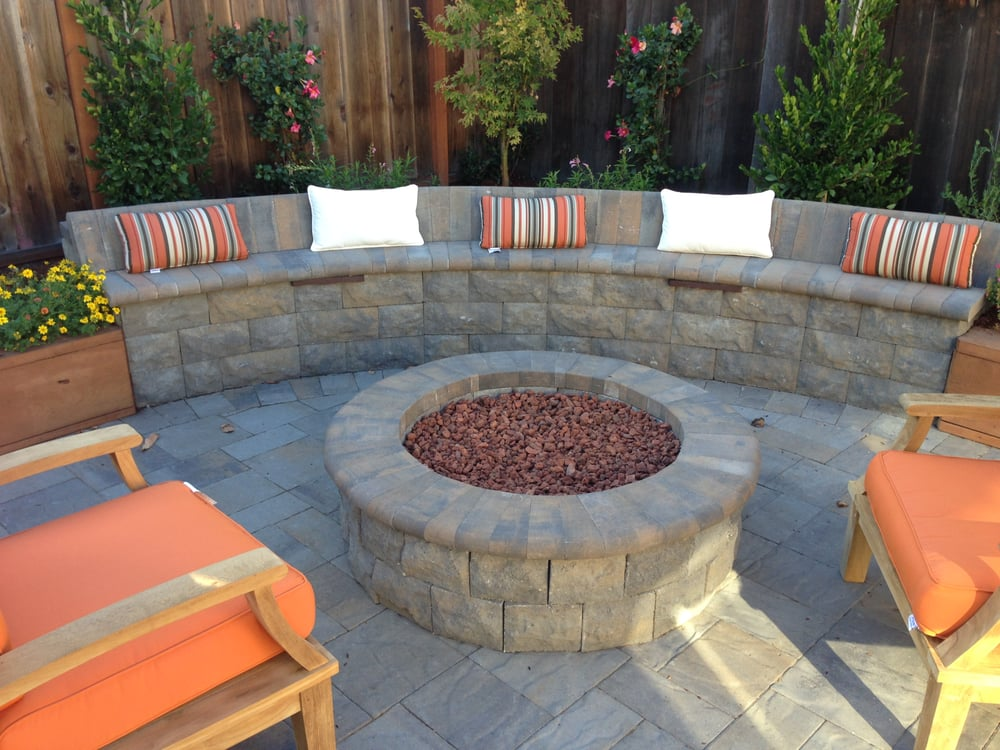 Photo of Black Diamond Paver Stones & Landscape - San Mateo, CA, United  States - Belgard Belair Stone In Bella Fire Pit & Sitting Wall, Avalon
