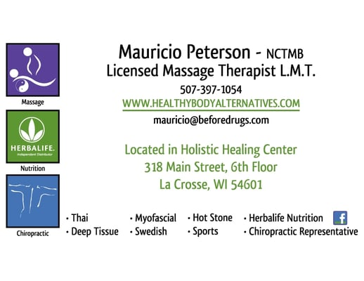 Mauricio peterson lmt massage therapy 318 main st la crosse photo of mauricio peterson lmt la crosse wi united states business business card reheart Gallery
