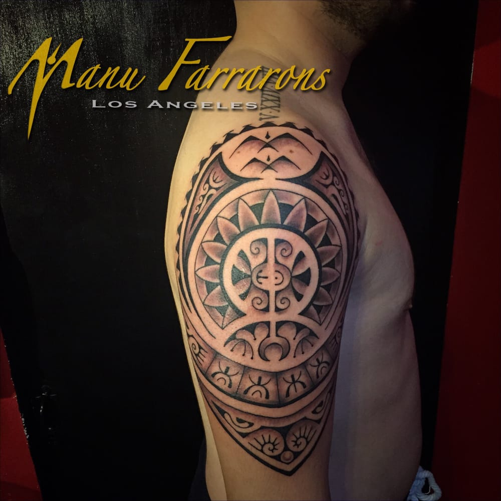 Modern mix on upper arm yelp for Polynesian tattoo near me