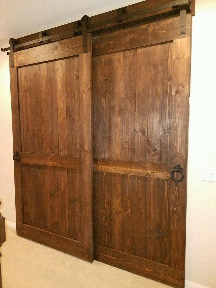 Double Barn Doors with Bypass Hardware for an office. - Yelp