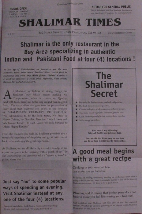 Shalimar Restaurant San Francisco Ca