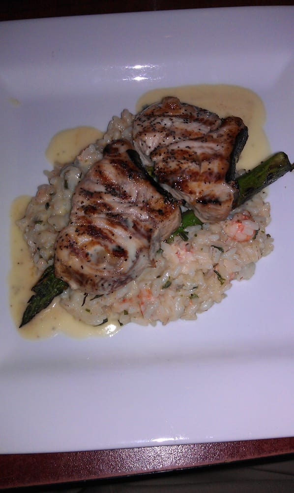 grilled swordfish with lobster risotto, grilled asparagus ...