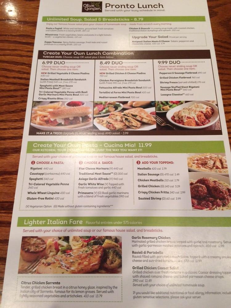 Olive Garden Catering Menu: Lunch Menu