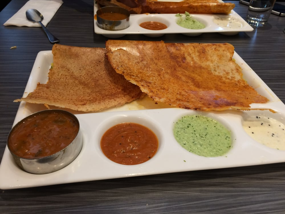 dosa with sambhar and 3 chutney accompaniments yelp