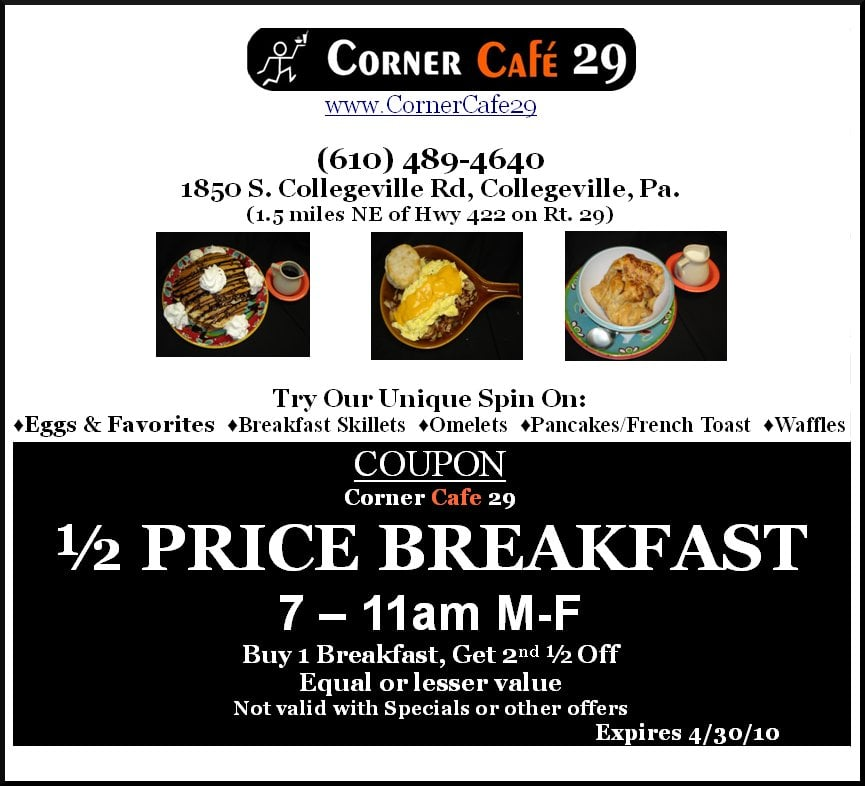 Corner Cafe Collegeville Menu