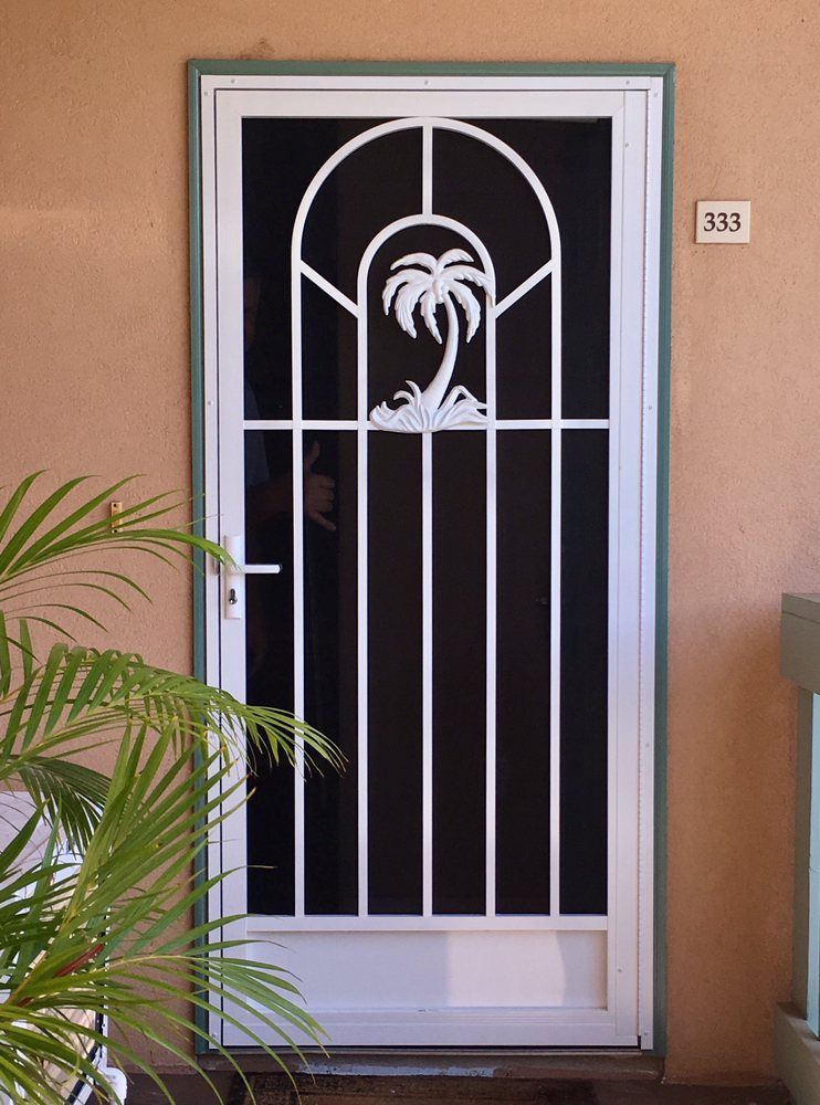 P-110-200 Aluminum Palm Tree Security Door- Villas at ...