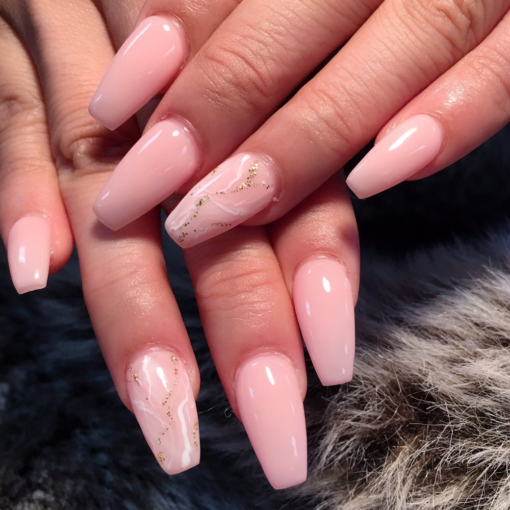 Baby pink marble nails.@thenailsplaza - Yelp