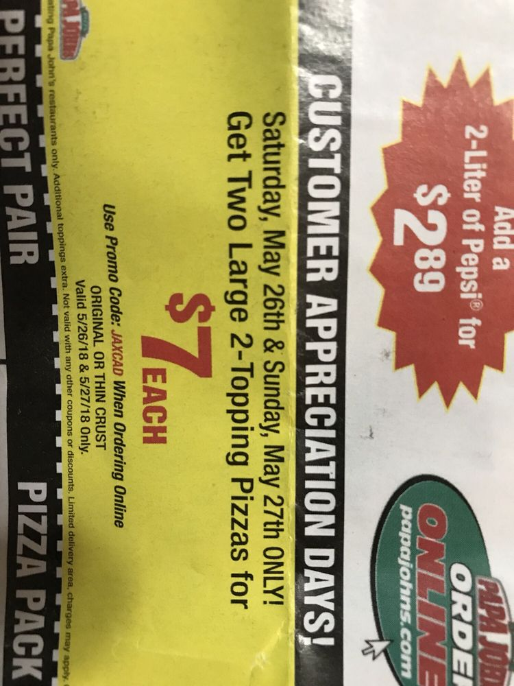 Papa John's Pizza: 950 Blanding Blvd, Orange Park, FL