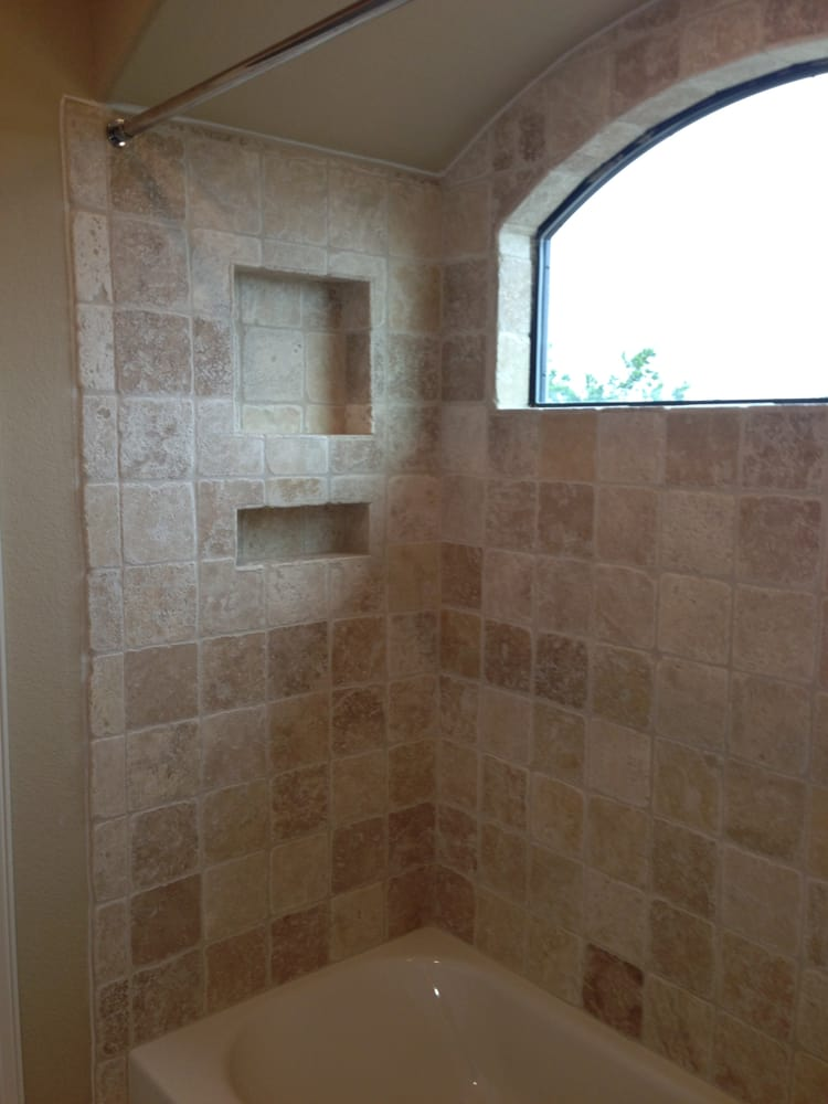 6x6 Ivory Travertine Tile On A Tub Surround Yelp