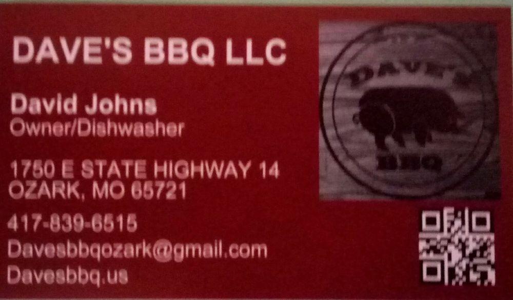 Dave's BBQ: 1750 Missouri 14, Ozark, MO