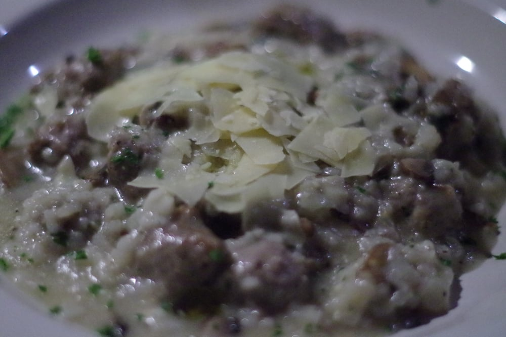 ... - Arnold, CA, United States. Italian sausage and mushroom risotto