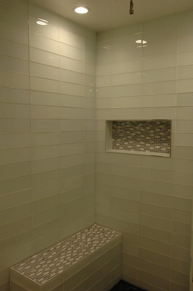 0bb370f0f6c Glass Tile on shower walls using Jeffrey Court Super White 4