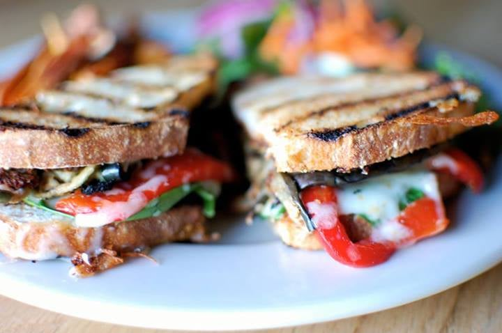 eggplant panini with roasted red peppers, provolone, and ...