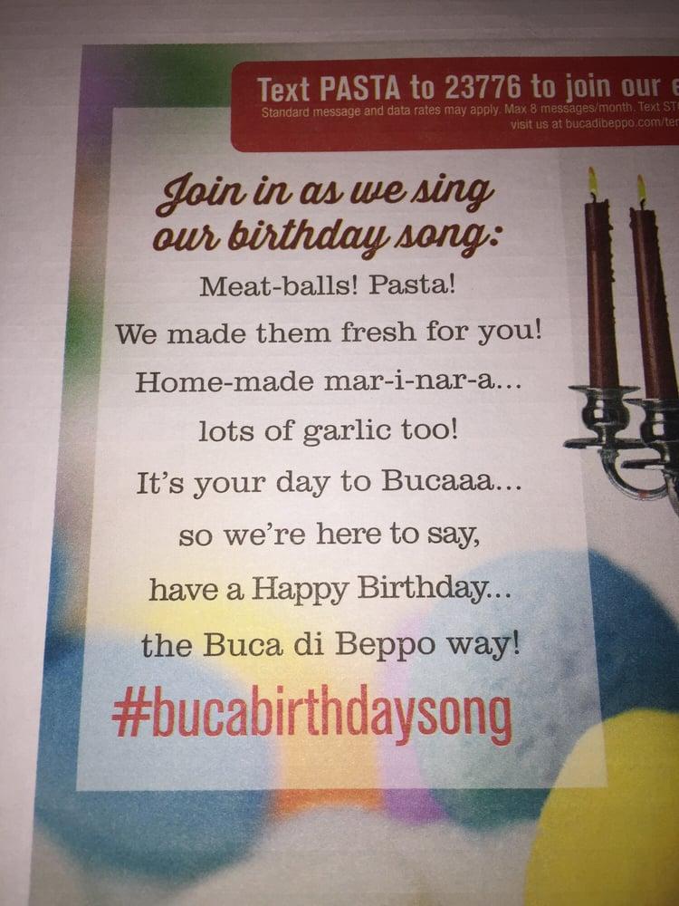 Lyric birthday song lyrics : Buca Birthday Song lyrics - Yelp