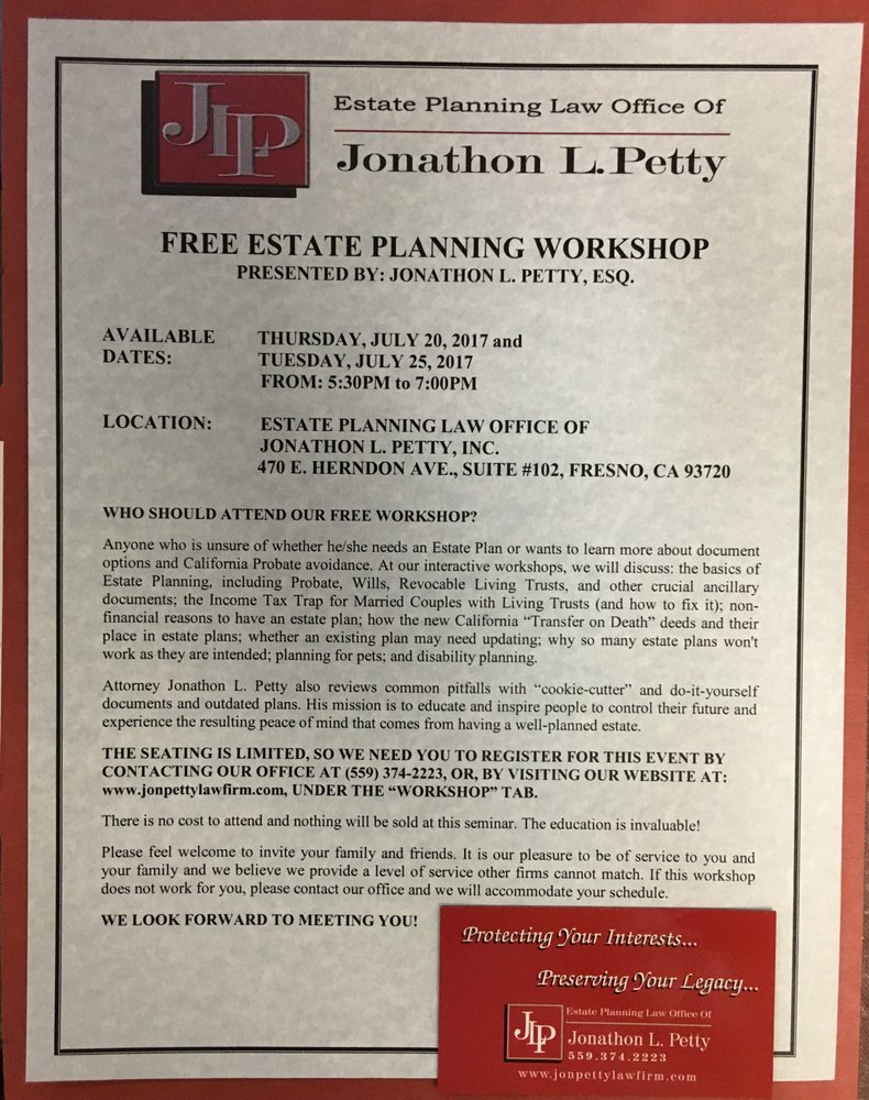 Estate planning law office of jonathon l petty business law 7636 estate planning law office of jonathon l petty business law 7636 n ingram ave fresno ca phone number yelp solutioingenieria Choice Image