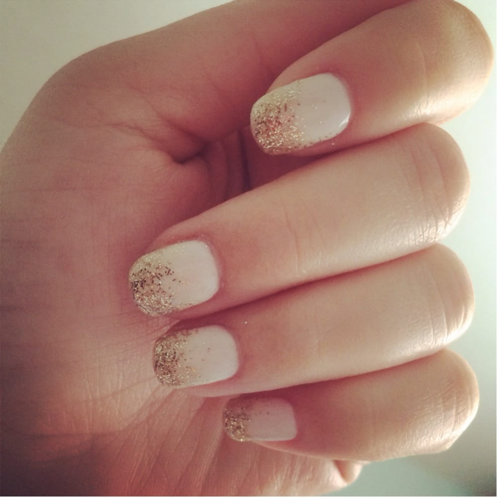 soft white with gold glitter ombré - yelp