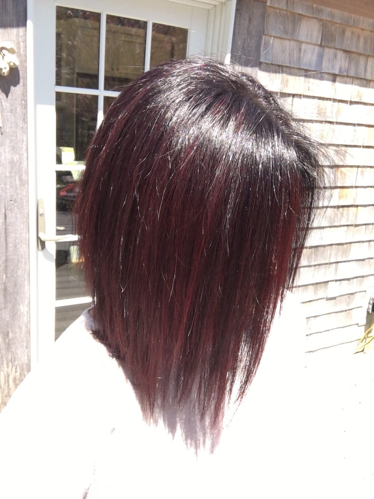 Dark Brown Hair With Red Violet Highlights Yelp