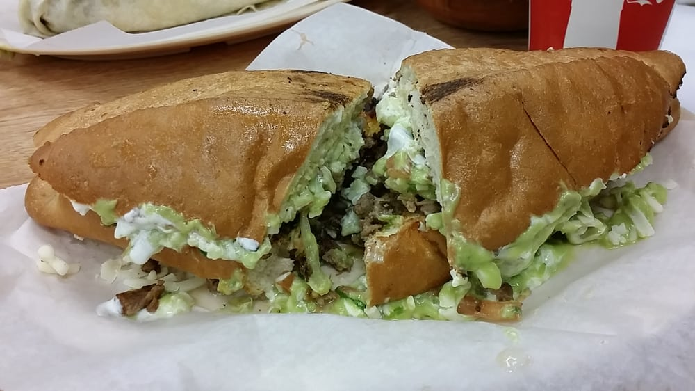 Torta- sandwich with guacamole, salsa and Carne Asada. $7.99 good eats ...