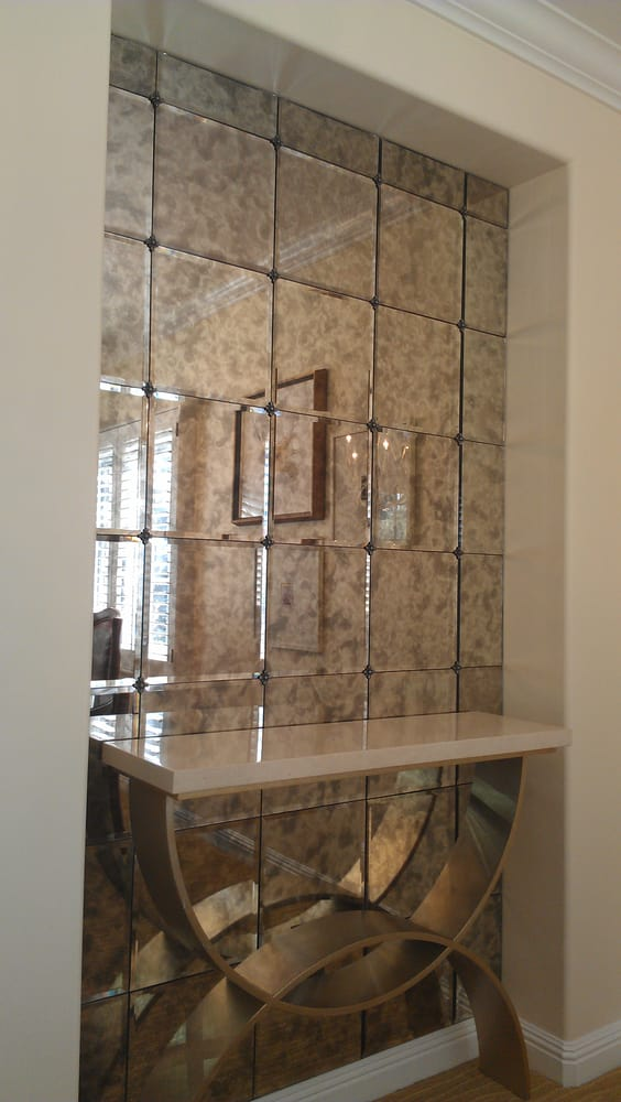 Antique Mirror Tiles With Bevel And Rosettes Yelp