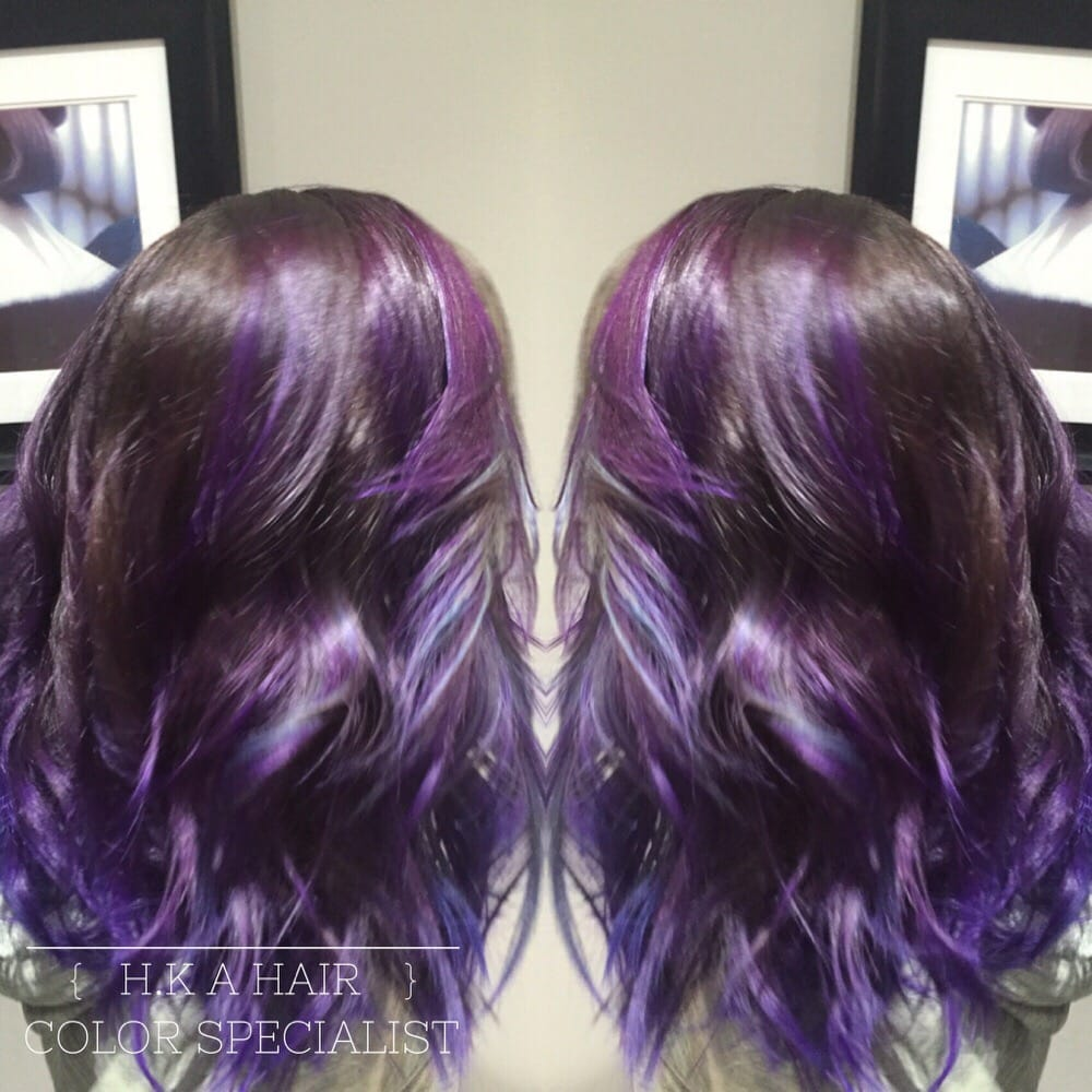 This Is A Balayage Of Pravana Purple And Teal For A Multi Tonal