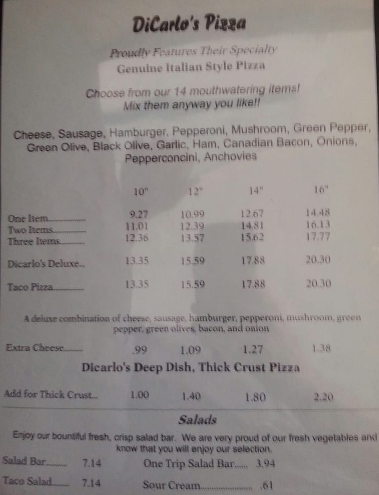 Dicarlo's Pizza & Pasta: 1520 S Main St, Red Bud, IL