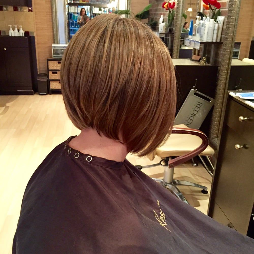 multidimensional hair color, on a beveled graduated bob - yelp