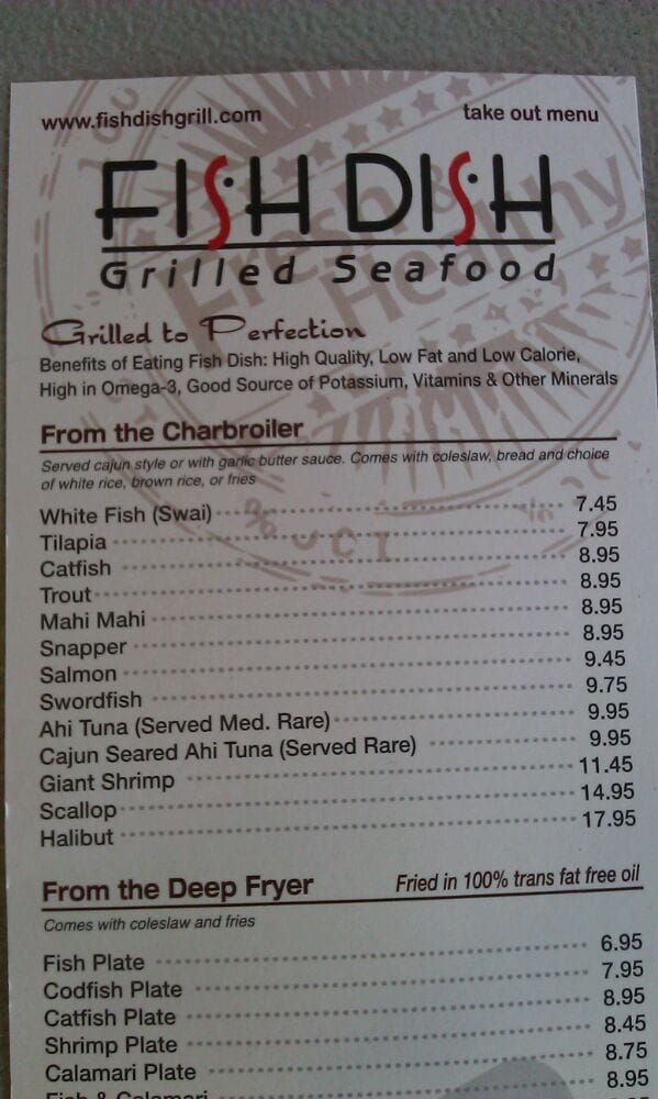 Take out menu charbroiler section yelp for Fish dish burbank