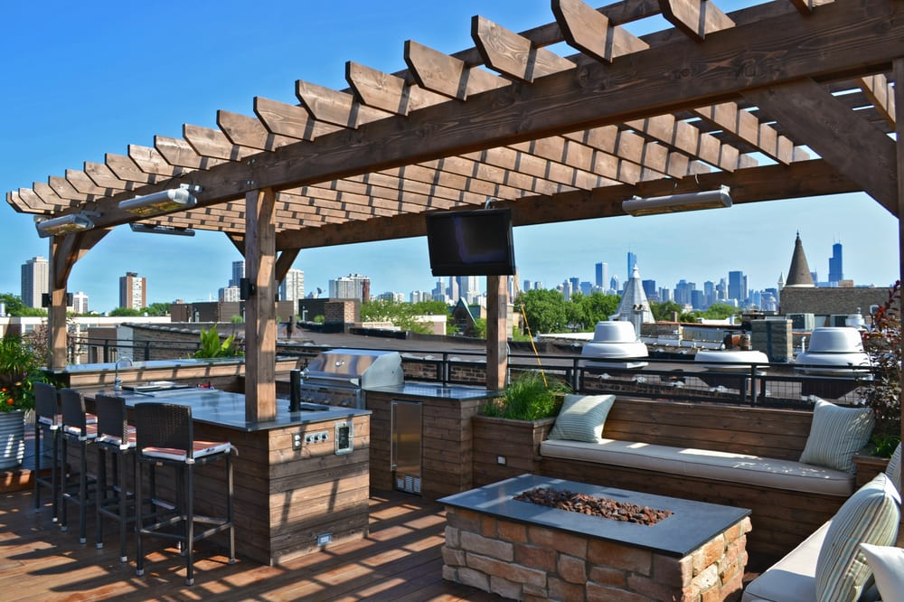 Roof deck with pergola fire pit kegerator and seating for Garden city pool jobs