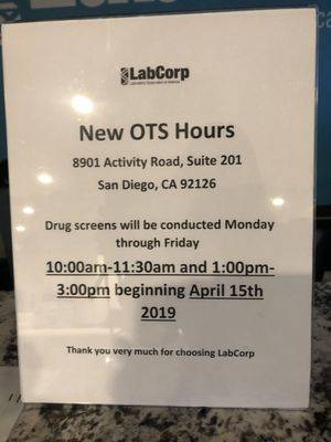 LabCorp 8901 Activity Rd Ste 201 San Diego, CA Laboratories Clinical