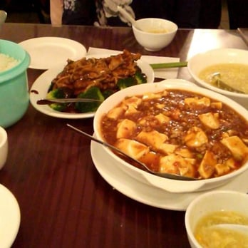 Mapo tofu, black pepper chicken and egg drop corn soup (I think? It's ...