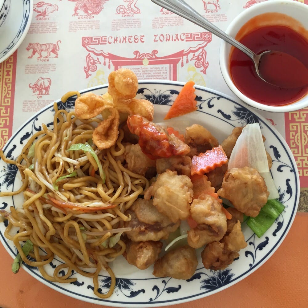 Sweet and sour pork with chow mein and sauce in the side - Yelp