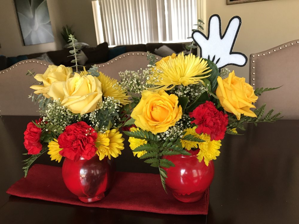 Bought flower bouquets and used for centerpieces - Yelp