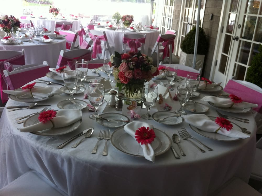 Table setting of a Baby Shower using Platinum Palate\'s tablecloths ...