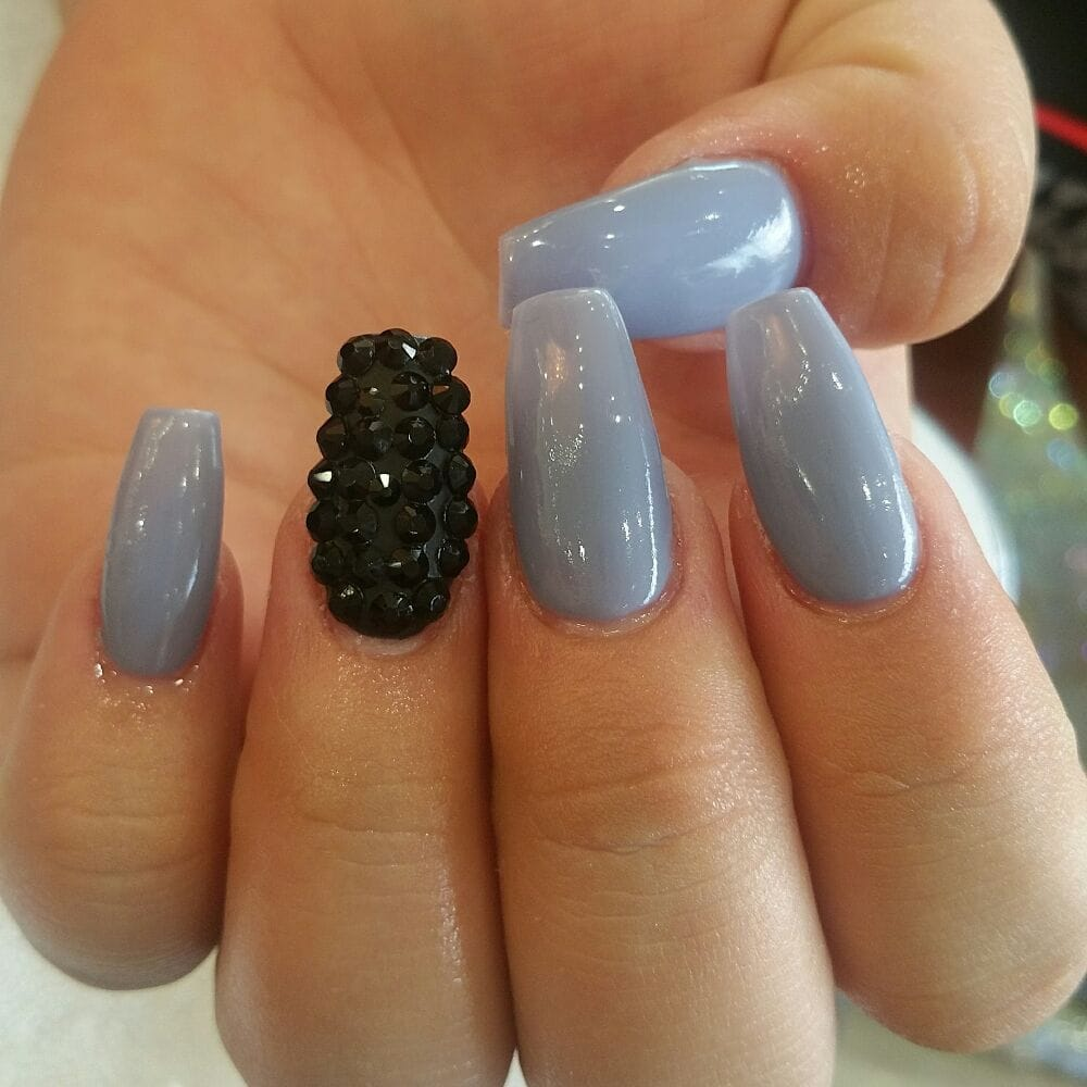 DND gel color on coffin nails and black swarovski crystals - Yelp