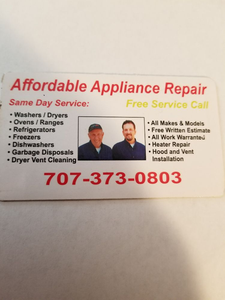 Affordable Appliance Repair: 260 American Canyon Rd, American Canyon, CA