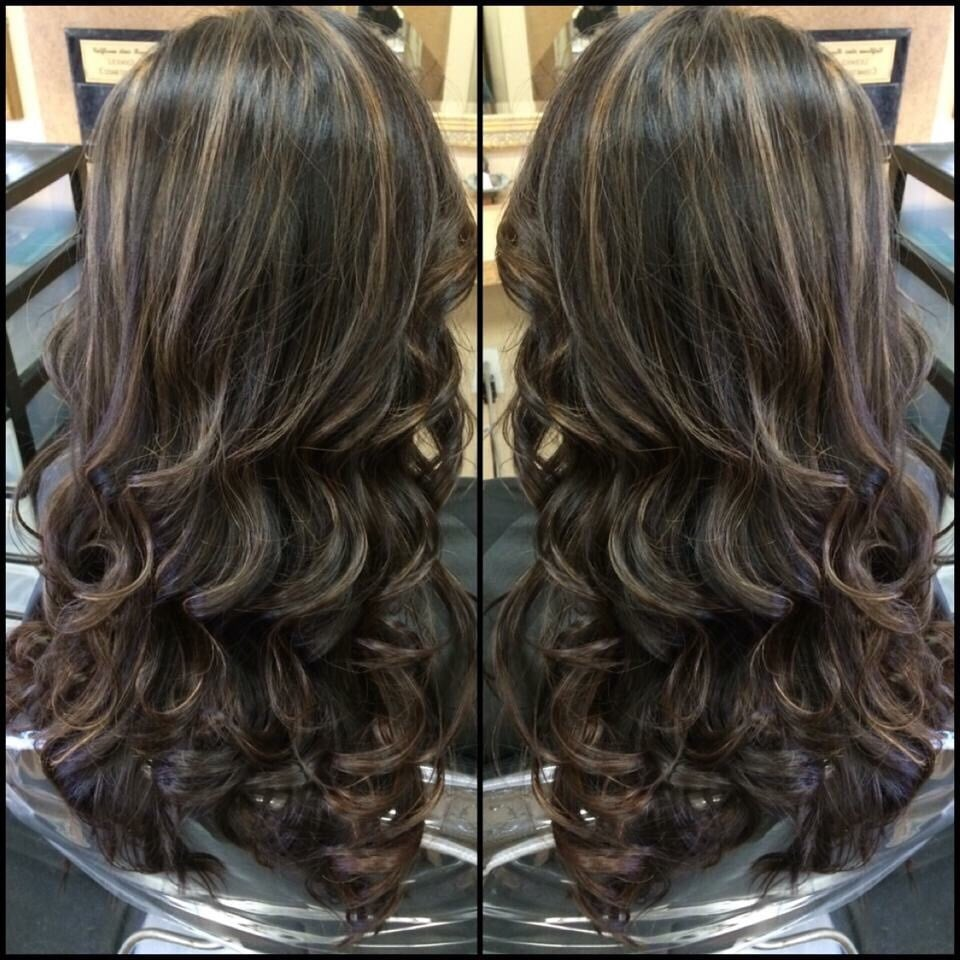 Color Dark Chocolate Brown With Caramel Highlights Haircut Long