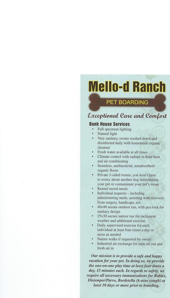 Mello-d Ranch Pet Boarding: 72100 600th Ave, Alpha, MN