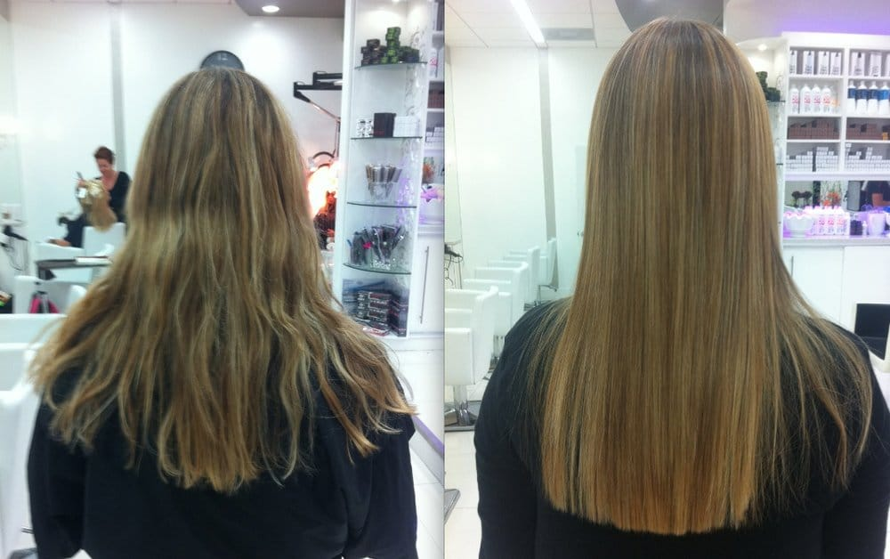 Before and after a Brazilian Keratin Treatment - Yelp