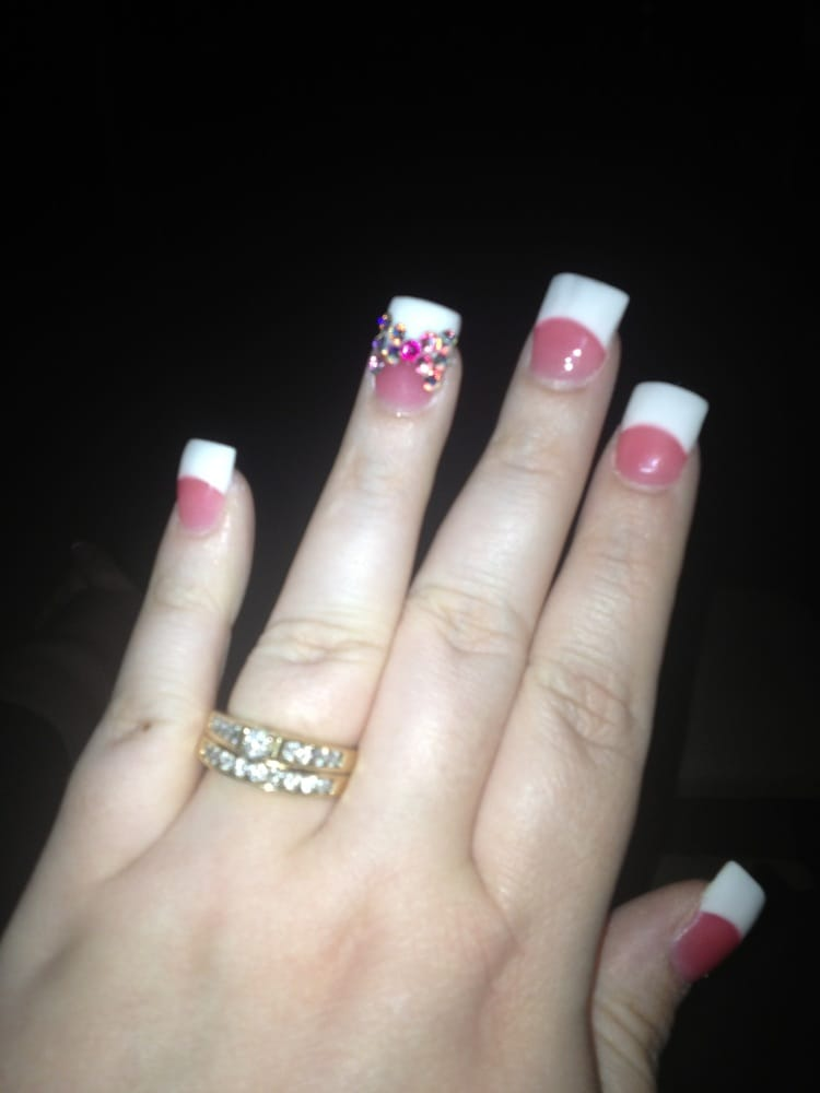 French pink and white with rhinestone bow. Love it. Took 30 min for ...